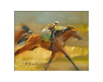 Horse Art - Matted Print of Original Oil Painting - Equestrian, Equine, Riders, Racing, Horses, Animal Lovers