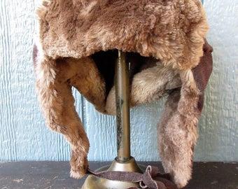 SALE...Alaska Suede and Fur Hat/Mad Bomber Hat/Trapper Fur Hat/Alaska Winter Fur Hat