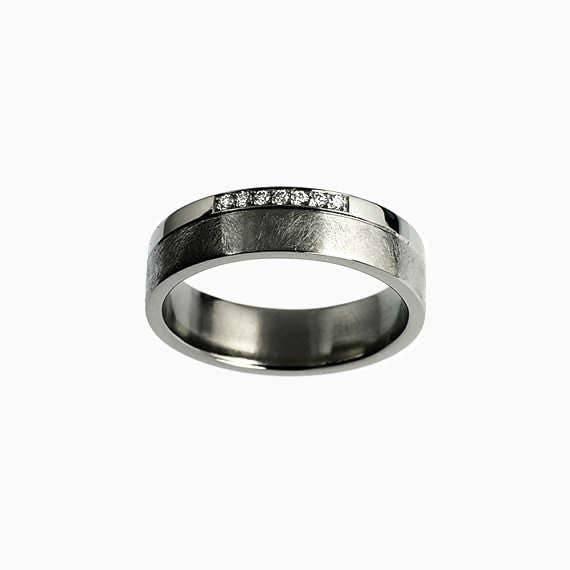 Palladium Wedding Band Diamond Ring Mens Wedding Ring Mens
