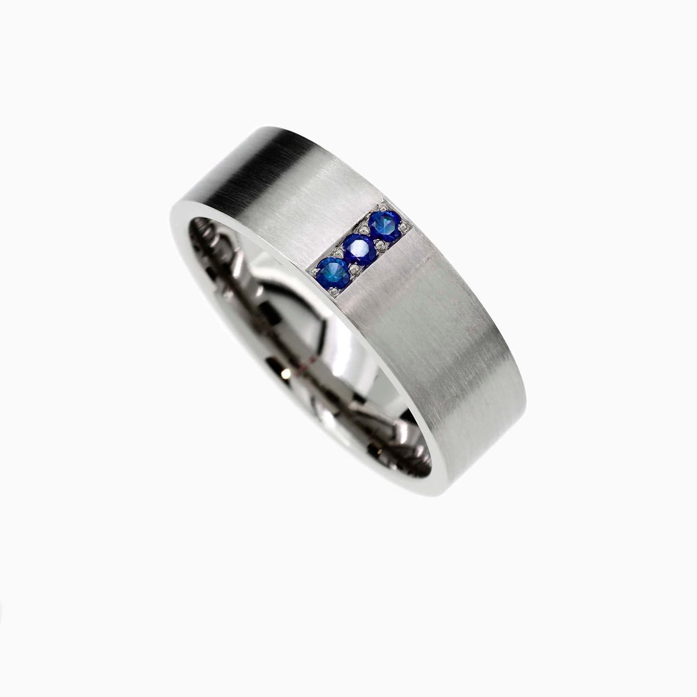 Blue sapphire wedding band palladium ring men sapphire ring