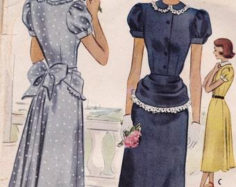 "RARE 1948 Beautiful Misses' Dress w/ Detachable Peplum & Peplum Ruffle Vintage Sewing Pattern [McCall 7250] Size 15, Bust 33"", Complete"