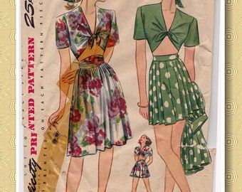 40s Size 18, Cute Playsuit with Midriff Top, Shorts & Skirt Vintage Sewing Pattern - Simplicity 1020 - Bust 36, Complete