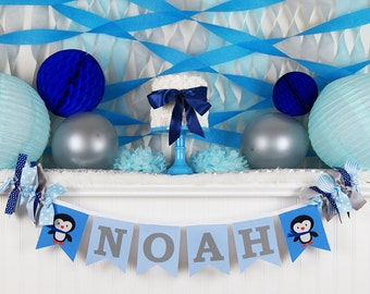 PENGUIN BIRTHDAY BANNER / Winter Onederland Birthday Banner / Penguin Baby  Shower / 1st Birthday Boy