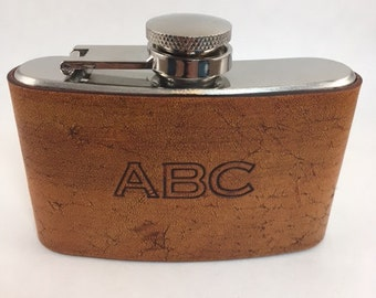 Personalized Leather Hip Flask, Groomsmen Gift, Monogram Flask, Groom Gift, Gift For Him