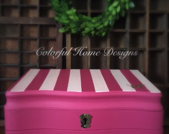 SOLD  Vintage Jewelry Box Hand Painted Victoria's Secret Inspired Design