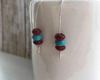 Agatha turquoise and carnelian agate earrings