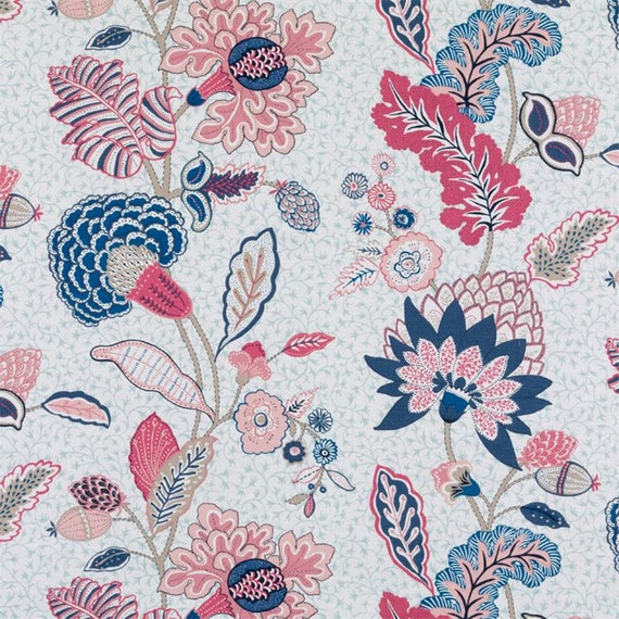 Pink Blue Floral Fabric Modern Navy Blue Floral Upholstery