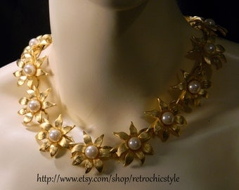 Circa 1980's Floral Motif Necklace Set - Vintage Gold Metal and Pearl Choker and Post Earrings - Retro Chic Style