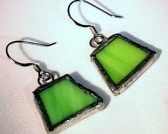 Green Stained Glass Earrings, Recycled Stained Glass Earrings, Green Glass Earrings, Minimalist Earrings, Gift for Her,  kimsjoy, ooak
