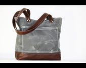 Charcoal Waxed canvas tote - heavy weight waterproof canvas bag and genuine leather  #010052