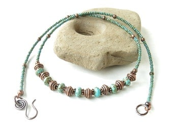 Turquoise beaded necklace - rustic stone, Picasso Czech glass & copper beads