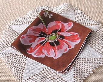Iceland Poppy Hanky . Vintage Flowers Handkerchief . Iceland Poppies Hanky