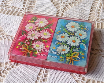Vintage Flowers Playing Cards / 2 Decks of Cards in Plastic Case