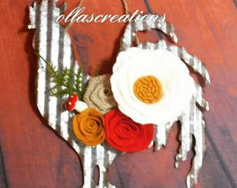 Tin rooster - rooster - kitchen decor - felt flowers