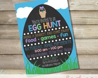 Easter Egg Hunt Printable Invitation, Chalkboard Easter Egg Hunt Invitation, Easter Birthday Party Invitation, Easter Egg Party, Chalkboard
