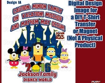 Digital Disney Themed Family Shirt Transfer Personalized T-Shirt Iron On Transfer  Matching Family Shirts DIY Minion Shirt DIY Disney Shirt