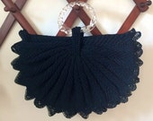 Reserved for Angela • Large 1940s Half Moon Black Crocheted Purse with Twisted Clear Lucite Ring Handles