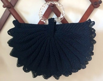 Large 1940s Half Moon Black Crocheted Purse with Twisted Clear Lucite Ring Handles