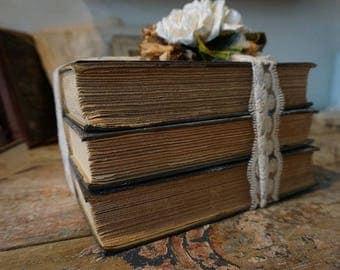 Distressed book stack farmhouse taupe gray book bundle French postcard antique lace embellishments decor Anita Spero Design