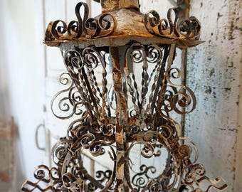 Hanging lantern lighting wall hook swag  ornate vintage metal painted gray white French farmhouse accent light home decor anita spero design