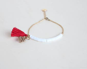 Snake tassel bracelet for women / White and red stone bracelet / Jungle bracelet