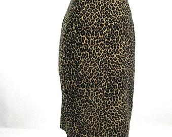 Vintage 80s faux leopard pencil skirt animal print wiggle skirt S