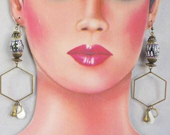 Hexagon hoop earrings,  Peruvian bead hoops, bronze hoop, long earrings