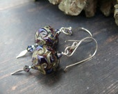 In the Nature of Supernatural Beings -  OOAK lampwork crystal and fine silver statement earrings.
