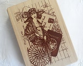 Bon Voyage Lovely Lady ~.~ XL NEW Rubber Stamp ~ for Tags & Scrapbooking ~ Inkadinkado