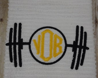 Weightlifting towel - Great personalized gift for the weightlifter to take to the gym - Embroidered monogram - Fun useful gift - Christmas