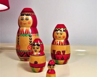 Vintage Russian Matryoshka Dolls Matryoshka Nesting Dolls Stacking Dolls Handmade Wooden Matryoshka Dolls Set 4 Dolls