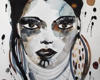 Woman Portrait Woman Art Face - Beauty Woman Contemporary Art Face - Céline Marcoz Art Contemporary Art Home Decor Woman Fine Art Portrait