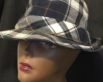 Man's Hat Resistol Blue Plaid Retro Vintage Fashion
