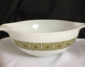 Large Pyrex Bowl with Retro Avocado Green Design