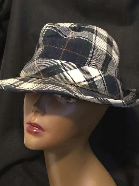 Man's Hat Resistol Blue Plaid Retro Vintage Fashion