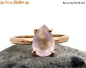 SUMMER SALE - 14k rose gold ring,rose quartz ring,pink quartz ring,teardrop ring,drop stone ring,gemstone ring,love stone jewelry