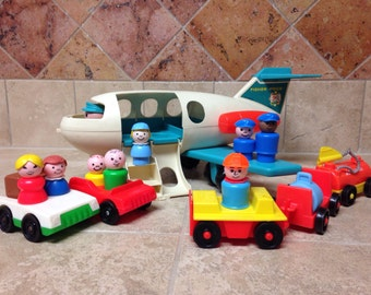 Vintage Fisher Price Little People Airplane Set