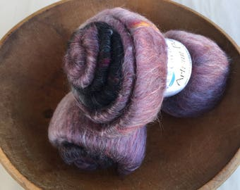 Midnight Rose, Artisan Batt, spinning fiber, 2oz