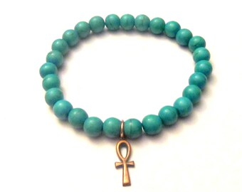 Ankh. Ankh Bracelet. Turquoise Bracelet. African Jewelry. Ankh Cross Bracelet. Ankh Cross. Cross Bracelet.