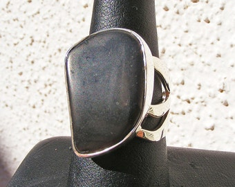 SHUNGITE RING, Size 8, Powerful Protection Stone, Sterling Silver