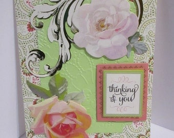 Elegant Thinking of You Card, Friendship, Greeting, Just Because, Miss You, Handmade, Anna Griffin, Die Cut Roses, Gold Foil