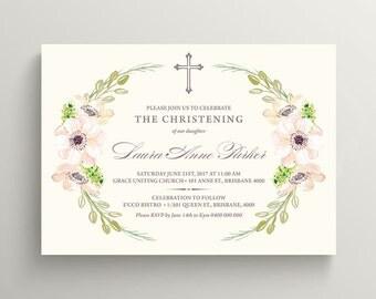 Girl Christening Invitation \ Girl Baptism Invitation \ Printable Floral Watercolour Invitation on Cream Background (CR06)
