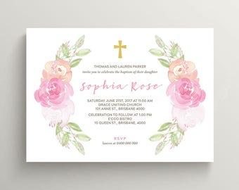 Christening Invitation \ Baptism Invitation \ Holy Communion \ Girl Invitation \ Printable Invitation \ Watercolour (CR46)