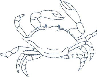 Embroidered Dish Towel - Toile Blue Crab