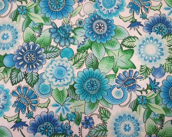 Flowers in Blues and Greens on white background by Blank Textiles