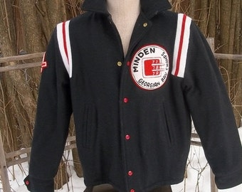 SALE Early 80's Black wool letterman varsity, hockey Team jacket.Fabulous condition.Made in CANADA