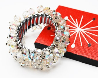 Crystal cha cha Bracelet - Glass Bead - Silver -  Expansion  bangle - mid century