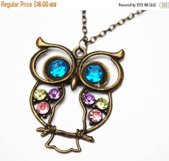 Rhinestone Owl Necklace - brass bronze metal - colorful stones