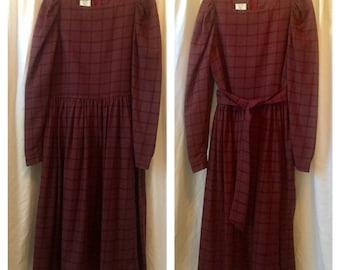 LAURA ASHLEY DRESS Plaid Long sleeve Dropped Waist dress /  Wool blend dress / vintage '90s. size 12