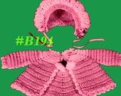 Almost FREE Vintage Baby Belle Sweater & Bonnet Set B194 PDF Digital Crochet Pattern